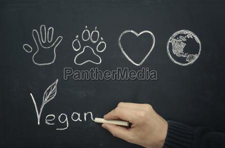 man drawing vegan concept on blackboard