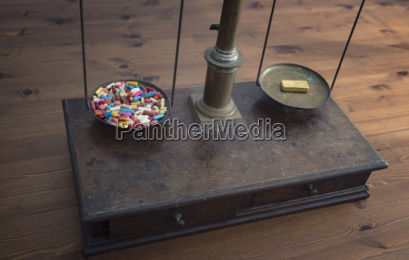 old scales with lots of tablets