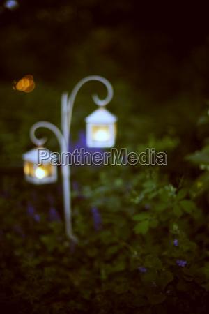 blurred image of iron lantern burning