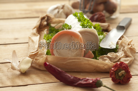 goat cheese with raw ham and
