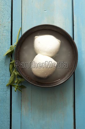 bowl of buffalo mozzarella on table