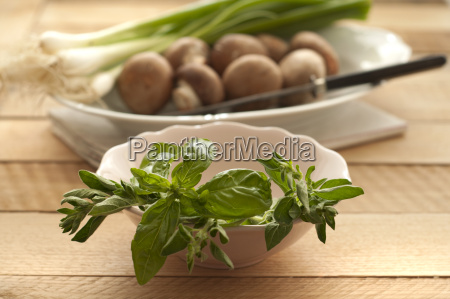 mushroom spring onions and herbs in