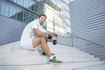 sportsman having a break