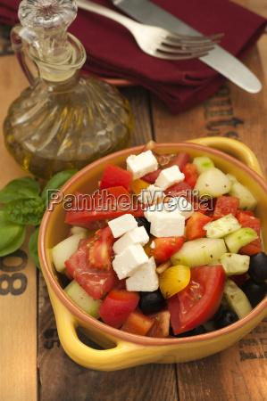 bowl of greek salad with feta