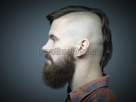 profile of young man with shaved