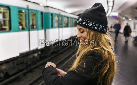 paris france young woman looking at