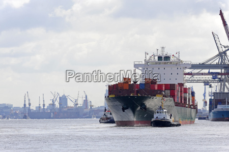 germany hamburg waltershof cargo ship on