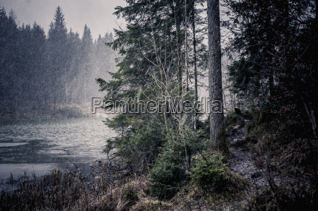 germany bavaria ramsau snowfall at hintersee