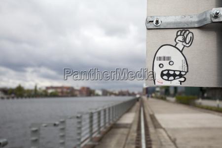 germany berlin streetart by the riverside