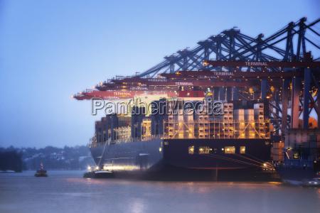 germany hamburg container ship at port