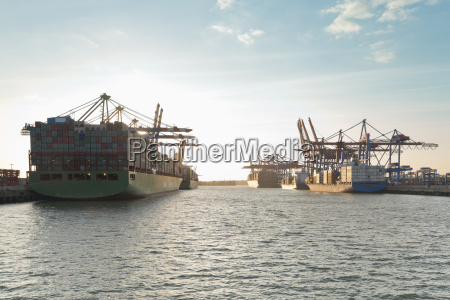 germany hamburg container ships at the