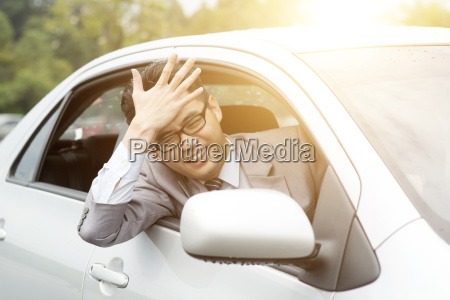 driver in traffic jam