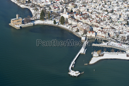 germany view of snow covered harbour