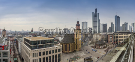 germany hesse frankfurt downtown view with