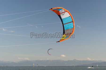 germany baden wuerttemberg fischbach kitesurfer on