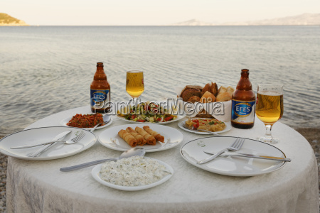 turkey mixed appetizers with efes beer
