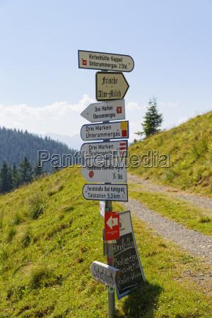 germany bavaria pfaffenwinkel bad kohlgrub signpost