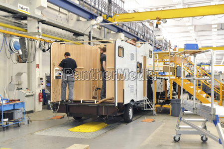 motorhome manufacturing in a factory