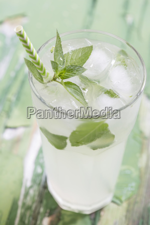 cold drink with ice mint and