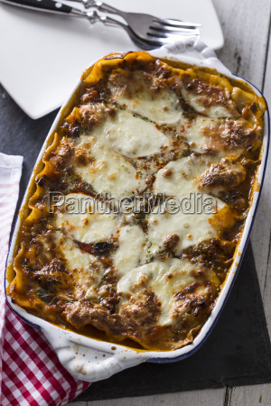 lasagne bolognese with mozzarella and vegetables