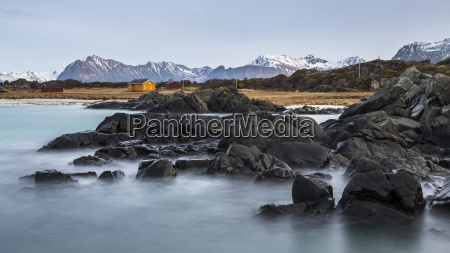 norway lofoten lonely house on the