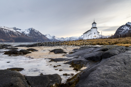 norway lofoten lonely church on the