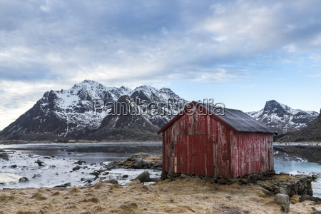 norway lofoten old house on the
