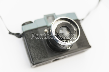 analog plastic camera on white background