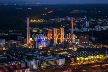 germany hesse frankfurt industrial area at