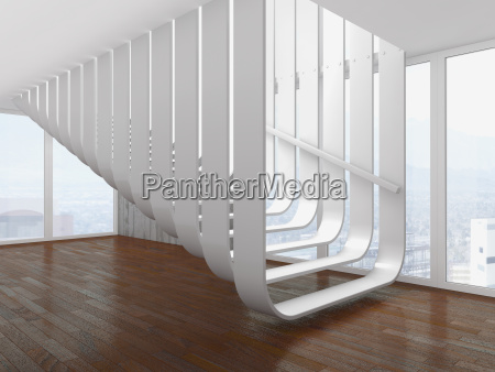modern white staircase at an empty