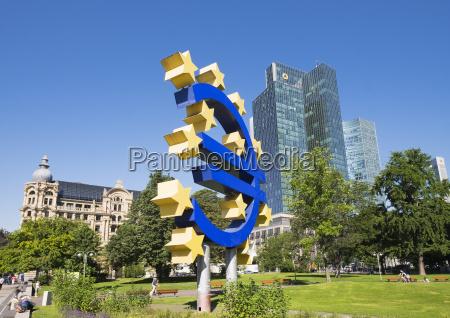germany frankfurt euro sculpture fuerstenhof and