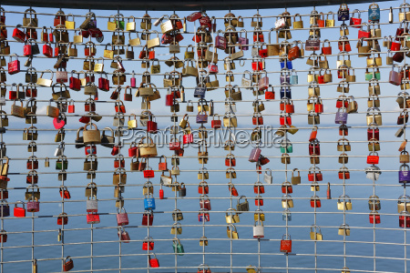 germany friedrichshafen love locks on palings