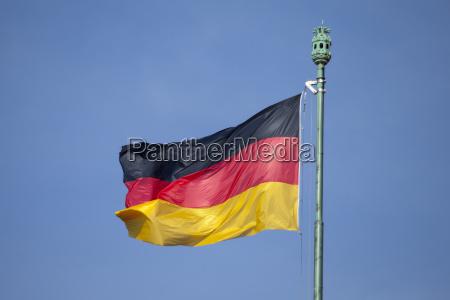 german flag and blue sky