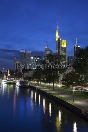 germany hesse frankfurt skyline with river