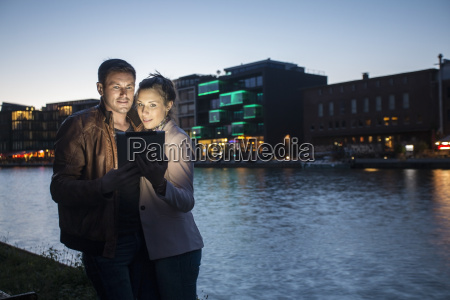germany muenster couple taking a selfie