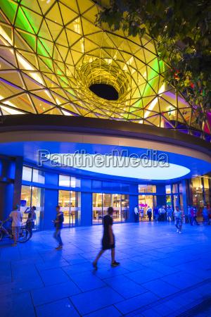germany frankfurt lighted entrance of shopping