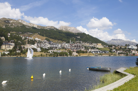 switzerland st moritz boats on lake