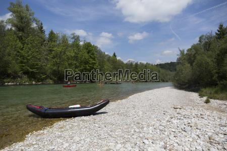 germany bavaria rafting boat lying on