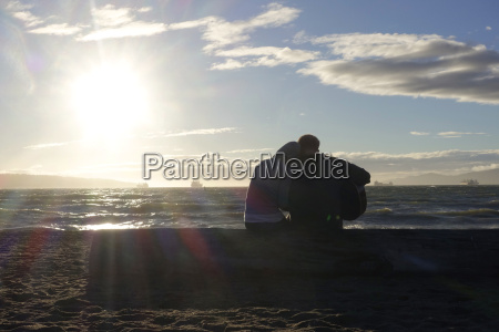 canada vancouver island longbeach lovers sitting