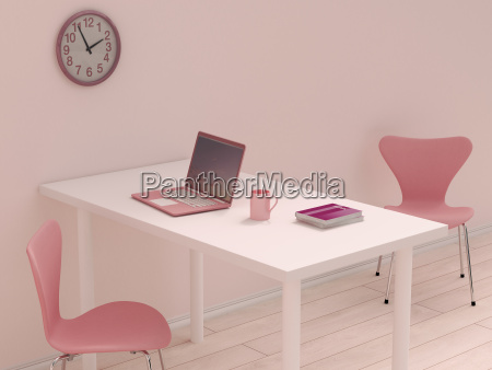 pink home office 3d rendering