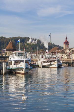 switzerland luzern excursion boats at