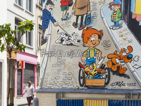 belgium brussels house facade with comic