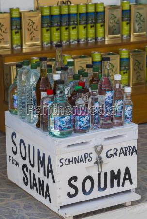 greece rhodes bottles with souma schnapps