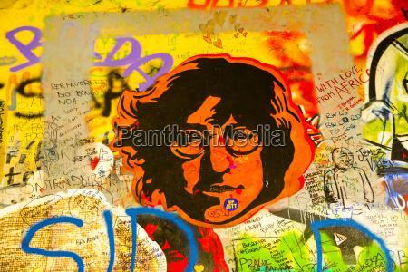czechia prague john lennon wall portrait