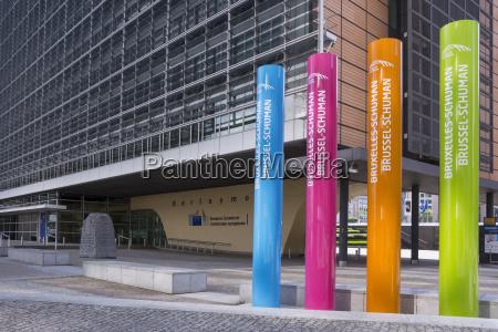 belgium brussels european commission multicolored columns