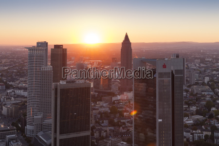 germany hesse frankfurt cityview at sunset