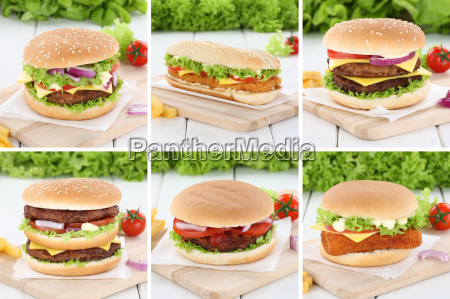 hamburger collection collage cheeseburger fresh onion