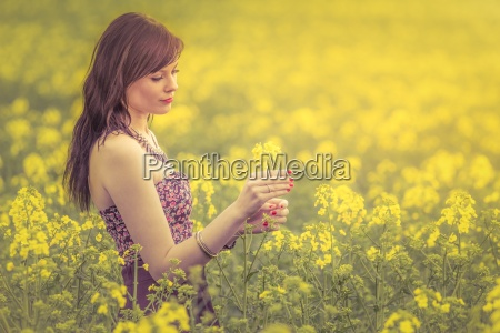 beautiful authentic summer woman flower visual