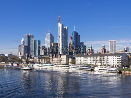 germany hesse skyline of frankfurt with