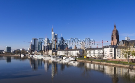 germany hesse skyline of frankfurt with